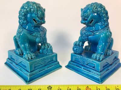 Pair Of Asian Blue Glazed Cermaic Foo Dogs 6W X 7.5D X 10H