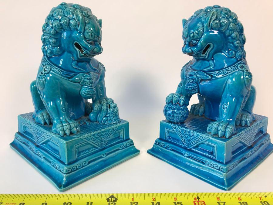 Pair Of Asian Blue Glazed Cermaic Foo Dogs 6W X 7.5D X 10H [Photo 1]