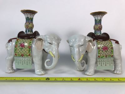 Pair Of Chinese Elephant Candleholders 8.5W X 4.5D X 10H (One Elephant Tusk Is Chipped And Other Elephant's Blanket Has Been Repaired)