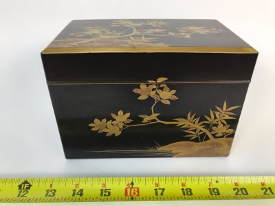 Asian Lacquer Box With Tray 7.25W X 4.5D X 5H