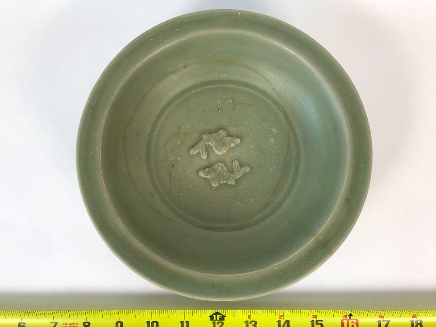 Old Chinese Longquan Celadon Two-Fish Porcelain Bowl 8W X 1.75H [Photo 1]