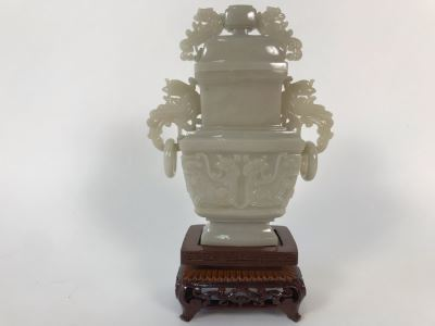 Chinese Carved Stone Temple Jar With Lid 5W X 2D X 6H And Wooden Stand
