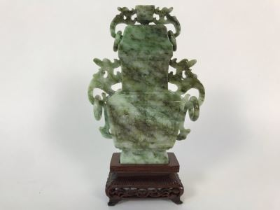 Chinese Carved Stone Temple Jar With Lid And Wooden Stand