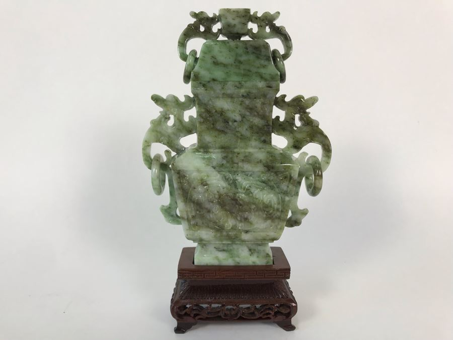Chinese Carved Stone Temple Jar With Lid And Wooden Stand [Photo 1]