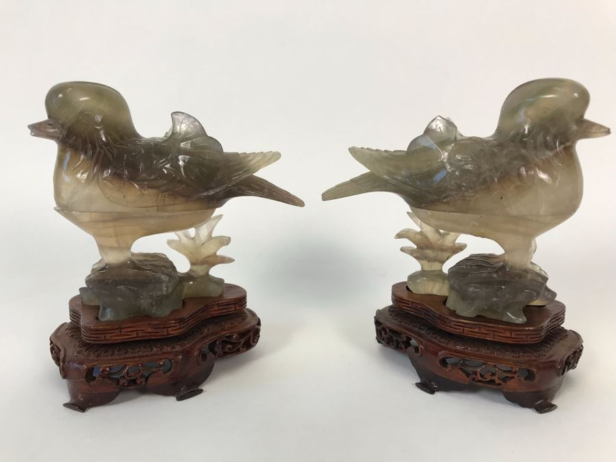 Pair Of Vintage Chinese Carved Stone Bird Figurines Boxes (Some Damage) With Wooden Stands Each 5W X 2D X 4H [Photo 1]