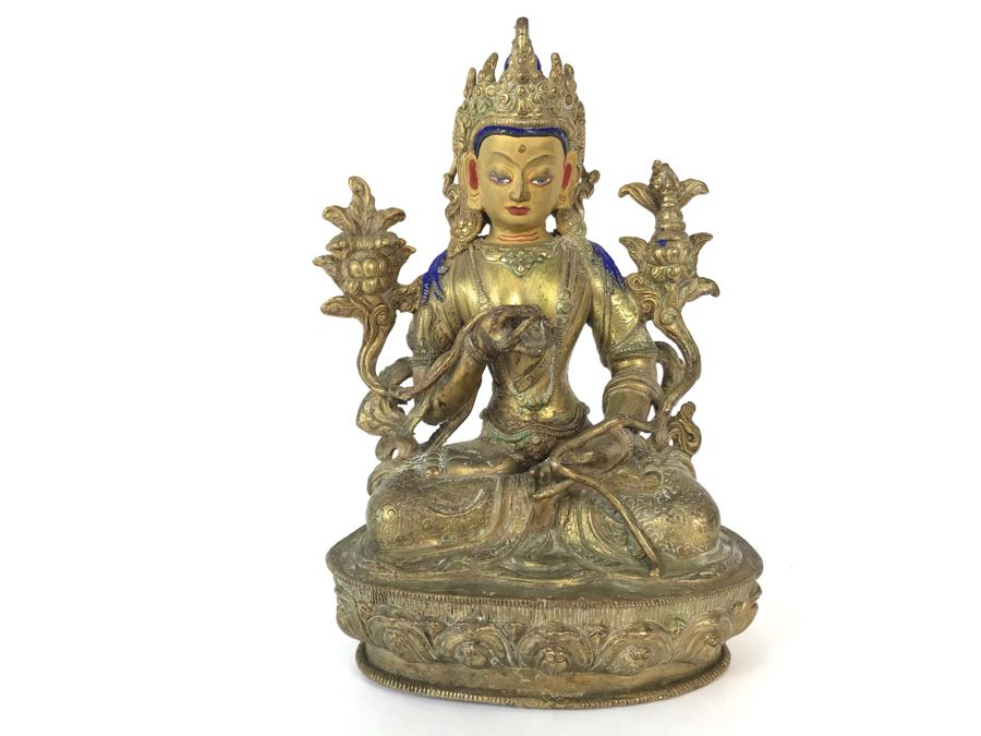19th Century Seated Akshobhya Statue Figure With Cold Gold Face 5.5W X 4D X 8H Appraised $2,200-$3,000 In 1994 [Photo 1]
