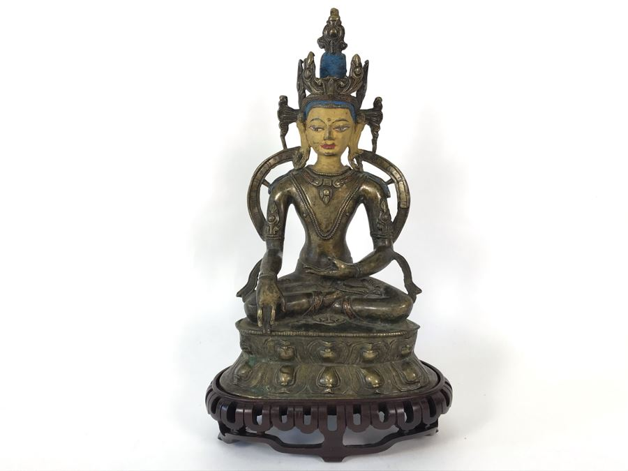 Old Tibetan Seated Buddha Akshobhya Figure Statue Signed With Wooden Stand 5W X 4D X 8.5H [Photo 1]