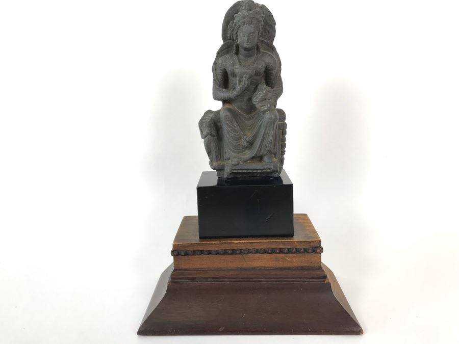 Ancient Carved Stone Goddess Figure Statue From Gandhara With Wooden Stand 3.5W X 1.5D X 6.5H [Photo 1]