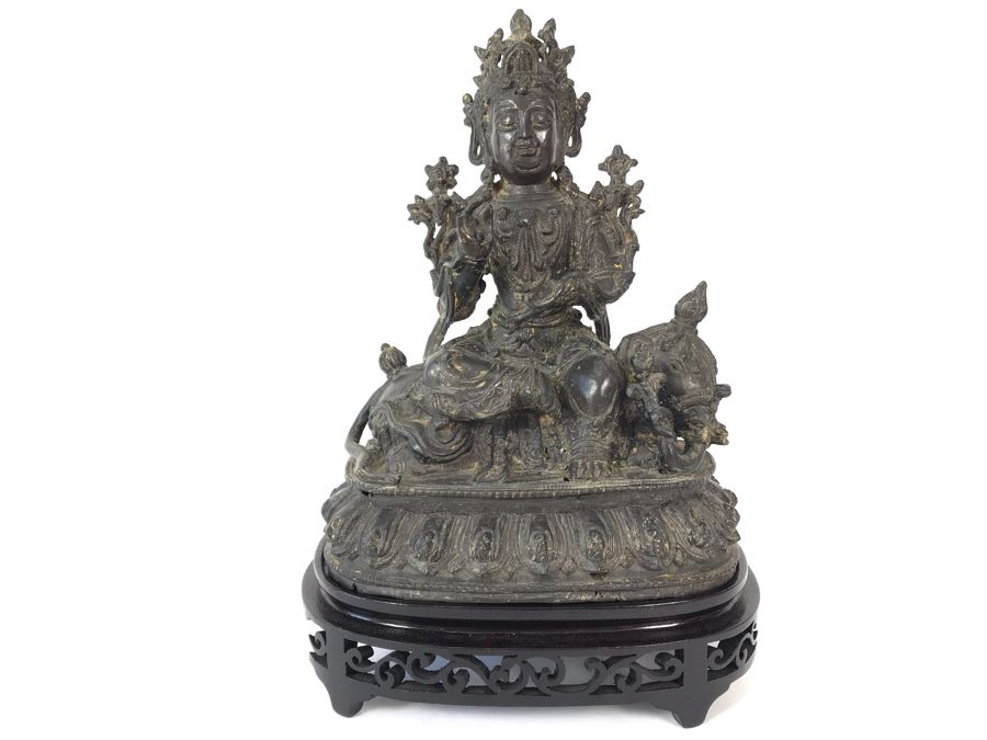 Antique Large Bodhisattva Seated On Elephant Gilded Metal Figure Statue 7.5W X 5D X 9.5H With Custom Wooden Base (Wooden Base Has Some Damage) 8W X 5.5D X 2.5H Appraised $2,500-$3,000 In 1994 [Photo 1]