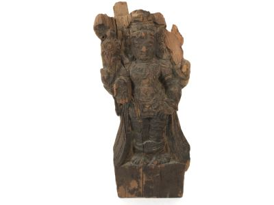 Hand Carved Wooden Vishnu Statue Figure 5W X 2.5D X 11H