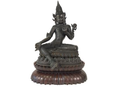 Large Antique Nepalese Metal Sitting Buddha Statue 12W X 10D X 16H With Custom Wooden Stand