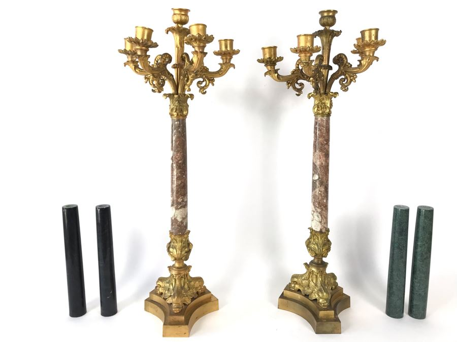 Pair Of Monumental Gilded Metal Candelabras With Three Sets Of Replaceable Marble Columns 9W X 23H [Photo 1]