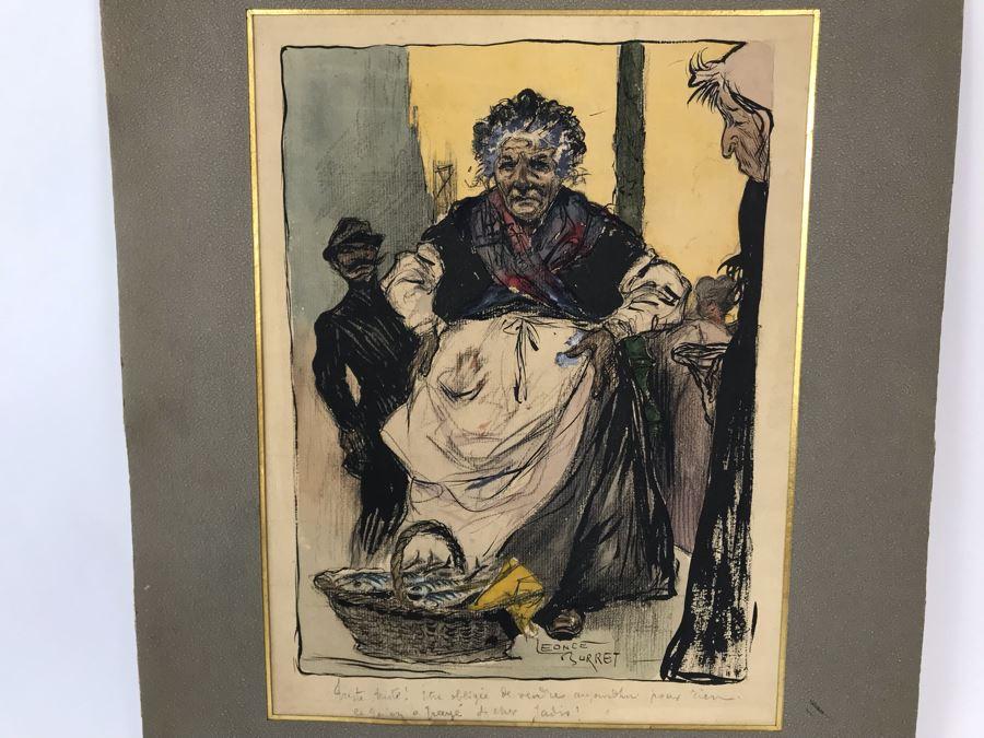 Original Leonce Burret (1866-1915) Painting On Paper 8.5 X 10.5 [Photo 1]