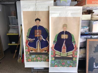 Pair Of Original Vintage Chinese Ancestor Silk Scroll Paintings 28.5 X 54
