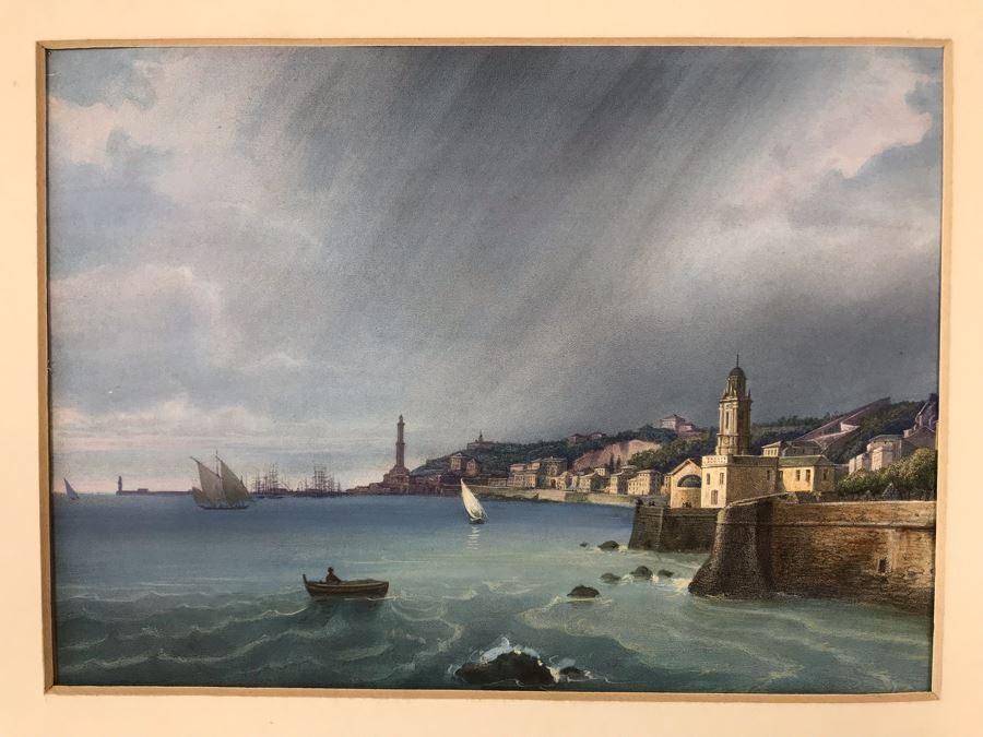 Hand Colored Picture Of Genoa Italy Port City 8.5W X 9.5H [Photo 1]