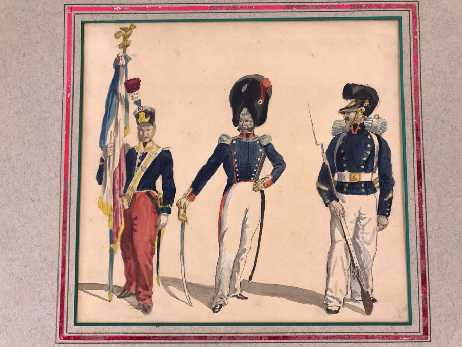 Original Watercolor Painting Of Three Soldiers 9W X 8.5H [Photo 1]