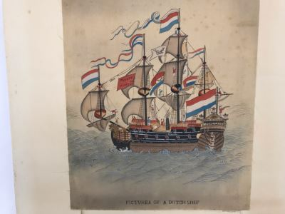 Original Silk Painting Titled 'Picture Of A Dutch Ship' 9.5 X 14.25