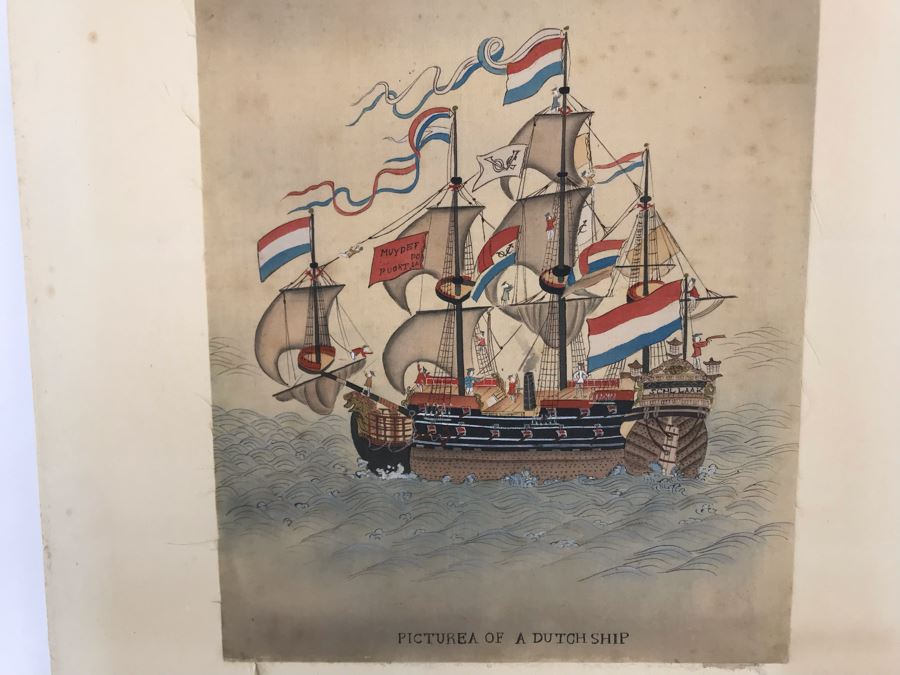 Original Silk Painting Titled 'Picture Of A Dutch Ship' 9.5 X 14.25 [Photo 1]