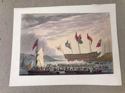 Original Watercolor Ship Painting 5.25 X 3.5