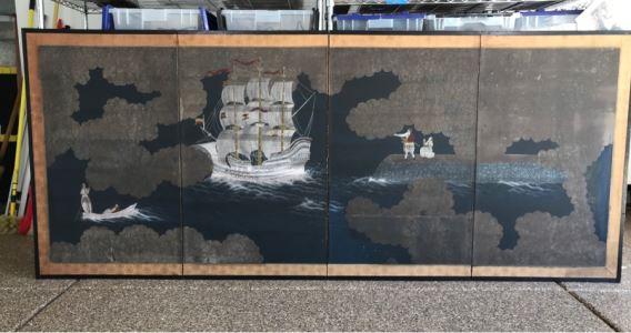 Original Hand Painted 4-Panel Japanese Screen Painting 99 X 42