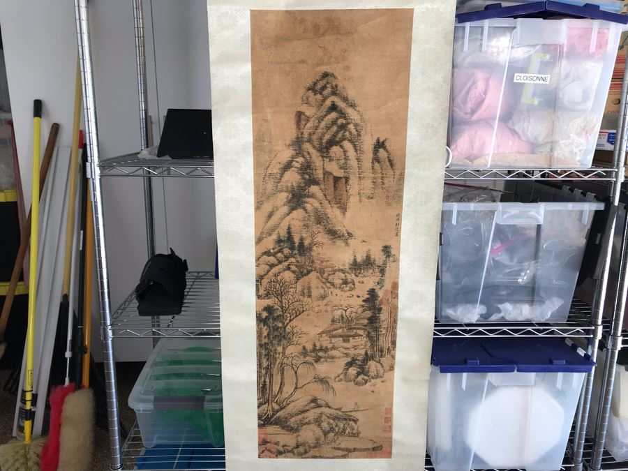 Original Signed Chinese Landscape Silk Scroll Painting 12.5 X 39.5 [Photo 1]