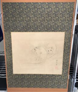 Original Signed Asian Silk Scroll Painting Of Rats 12.5 X 10.5