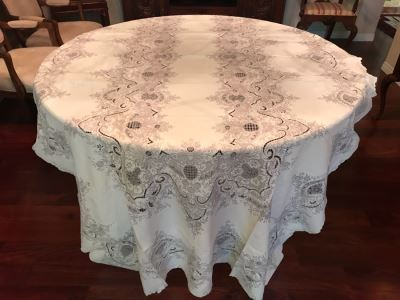 Stunning Chinese Embroidered Rectangular Tablecloth 115' X 64' With 6 Matching Napkins