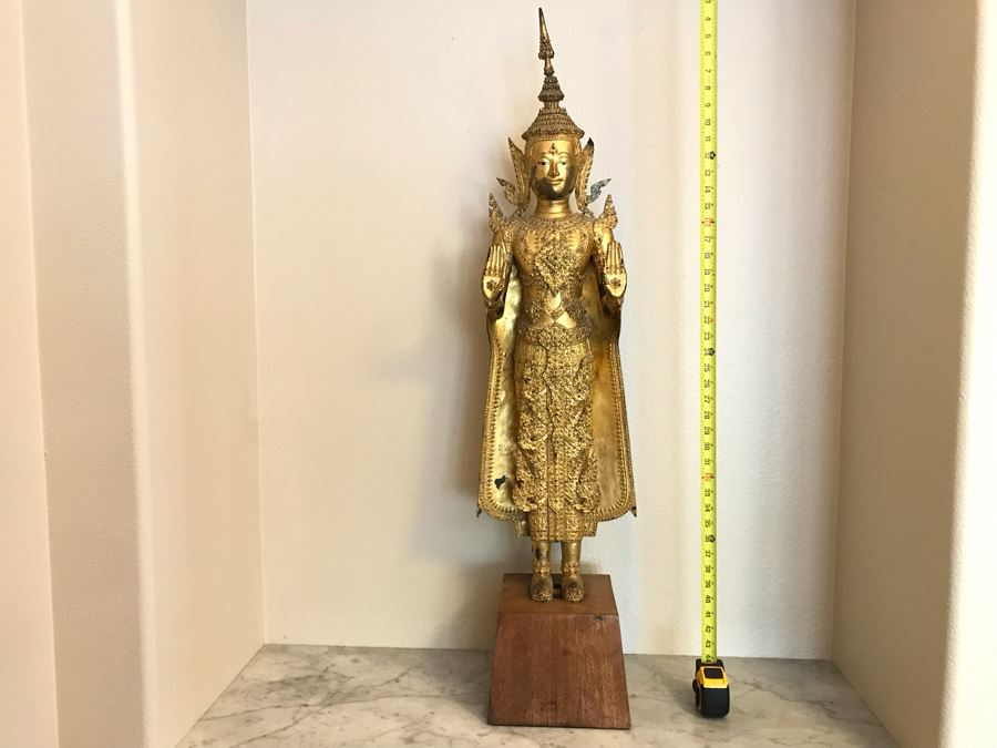 Large Vintage Thai Gilded Bronze Standing Buddha Statue Figure On Wooden Base 11W X 45H [Photo 1]
