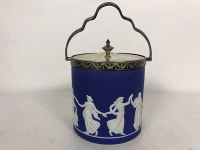 Vintage Jasperware Ice Bucket With Silverplate Handle 6.5W X 9.5H