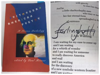 Lawrence Ferlinghetti Hand Signed Book Postmodern American Poetry A Norton Anthology