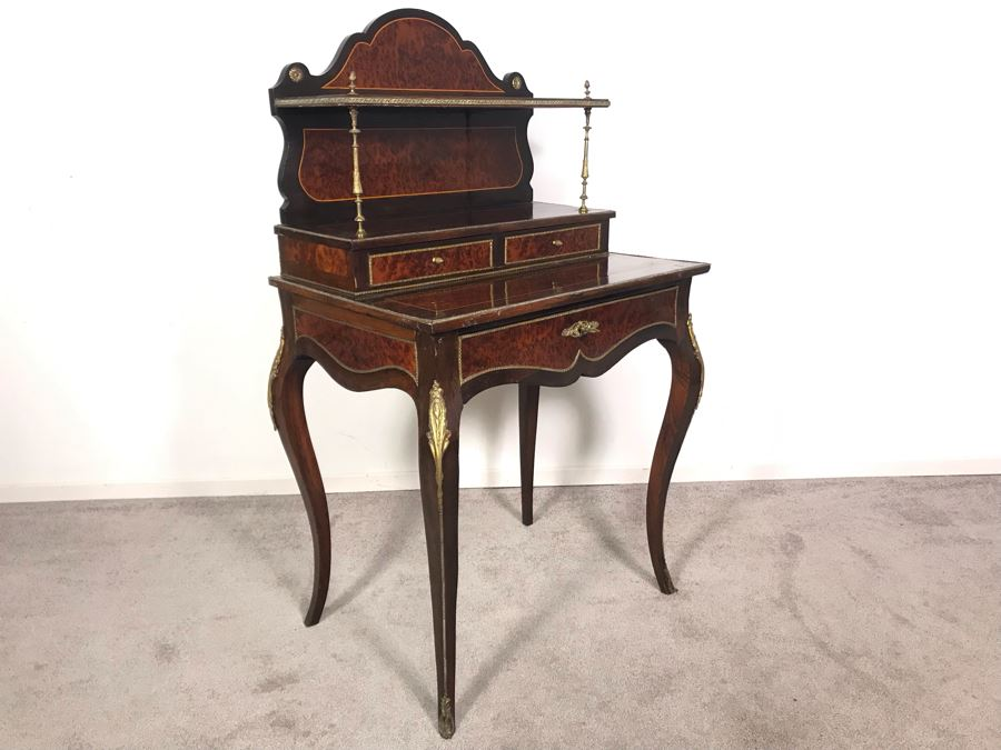 Stunning Antique French 3-Drawer Ormolu Mounted Writing Desk Stand With Shelving 28W X 20D X 49H  [Photo 1]