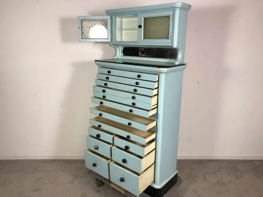 Early 20th Century Antique 15-Drawer Dental Cabinet Metal Drawers With Wooden Frame 30.5W X 13.5D X 61H [Photo 1]