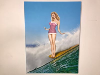 Large Original Carlos Cartagena Pin-Up Girl Riding Wave Toes On The Nose Acrylic Painting On Canvas June 2019 36 X 48