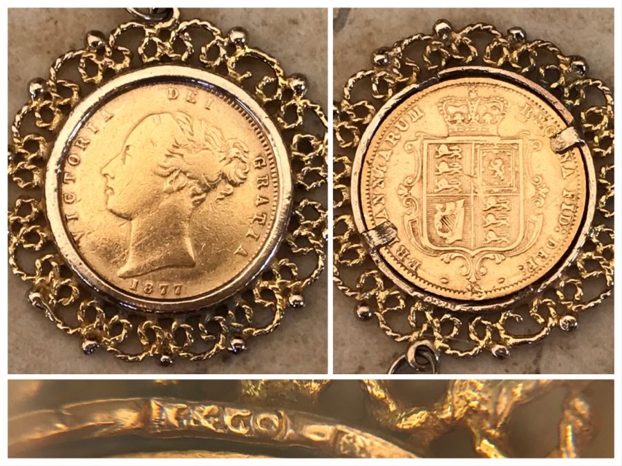 Antique 1877 Gold Coin United Kingdom Half Sovereign Die 40 Victoria Dei Gratia Coin Set In Stunning Tiffany & Co Gold Coin Bezel - Total Weight With Bezel 7.5g [Photo 1]