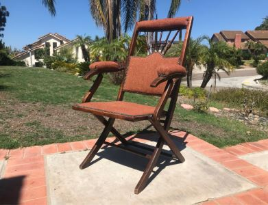 Vintage English Folding Campaign Chair Travelling Chair