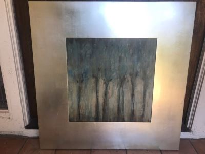 Modern Abstract Trees Print In Large Silver Frame By Uttermost Company 46.5 X 46.5