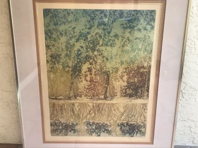 Vintage 1974 Limited Edition Hand Signed Etching By Maidy Morhous Titled 'Resurgence' Depicting Trees And Roots Framed 28 X 34
