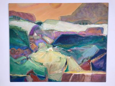 Original Jean Klafs Abstract Expressionist Painting On Canvas Titled 'Vista Vista' 36' X 44'
