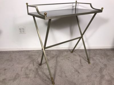 Vintage Italian Brass And Steel Desk Table With Ram & Hoof Foot 28.5'W X 17'D X 33'H