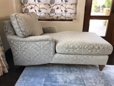 Custom Chaise Lounge Chair With AST Fabric 33D X 63L X 35H (Retails $4,000)