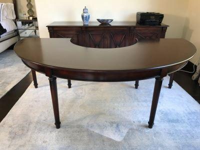 Custom Wooden Demilune Desk 90W X 48D X 30H (Retails $2,500)
