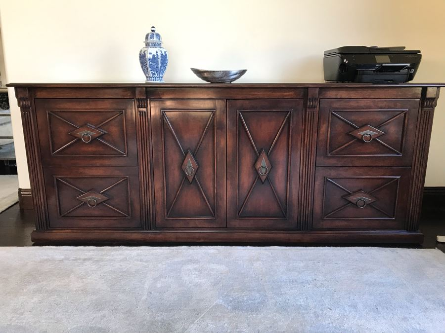 Custom Wooden Office Credenza With Four File Drawers And Center Cabinet Doors (Sold Empty) 68W X 20D X 34H (Retails $3,800) [Photo 1]
