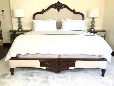 Stunning Marchand Upholstered Mahogany Carved Bed From Frontgate (Sold Out) - Does Not Include Mattress Or Boxspring (Retails $6,000)