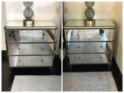 Pair Of Mirrored Nightstands By Currey & Company (Retails $3,400)