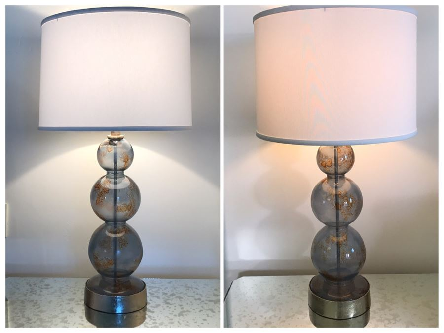 Pair Of Glass Table Lamps 32H (Retails $1,200) [Photo 1]
