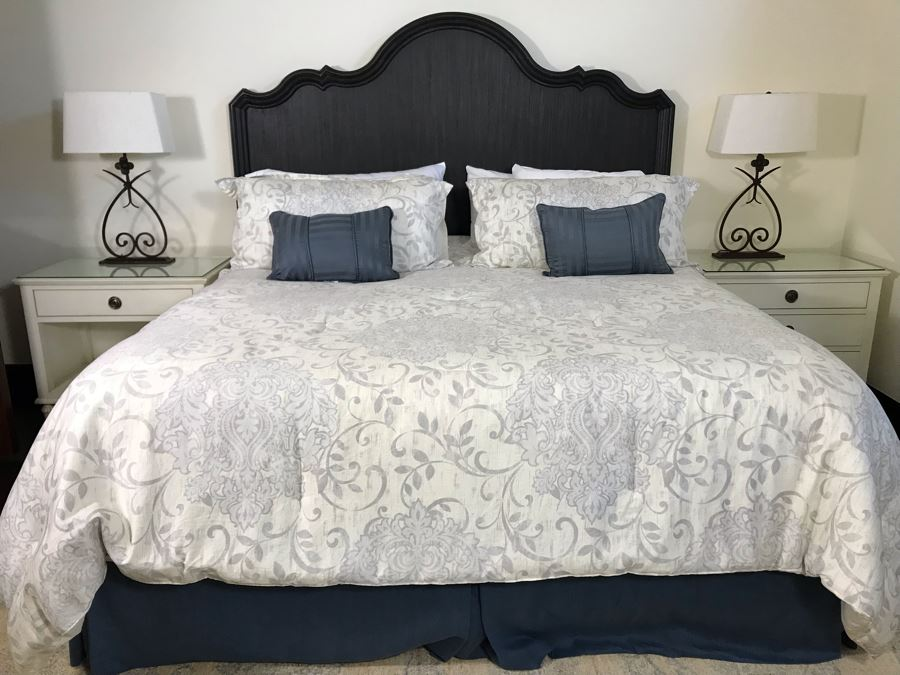 Wooden King Size Headboard From Hooker Furniture With Metal Bed Frame And Bedding (Does Not Include Mattress Or Boxspring) Retails $1,390 [Photo 1]