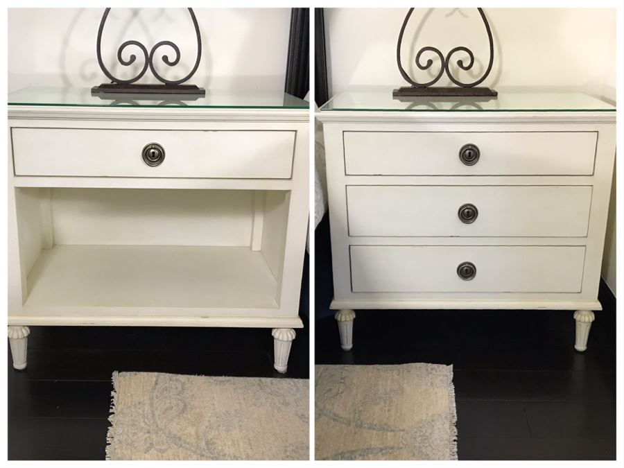 Pair Of Restoration Hardware White Nightstands - Maison Open Nightstand And Lockable 3-Drawer Nightstand With Key 32W X 19D X 28H (Retails $2,000) [Photo 1]