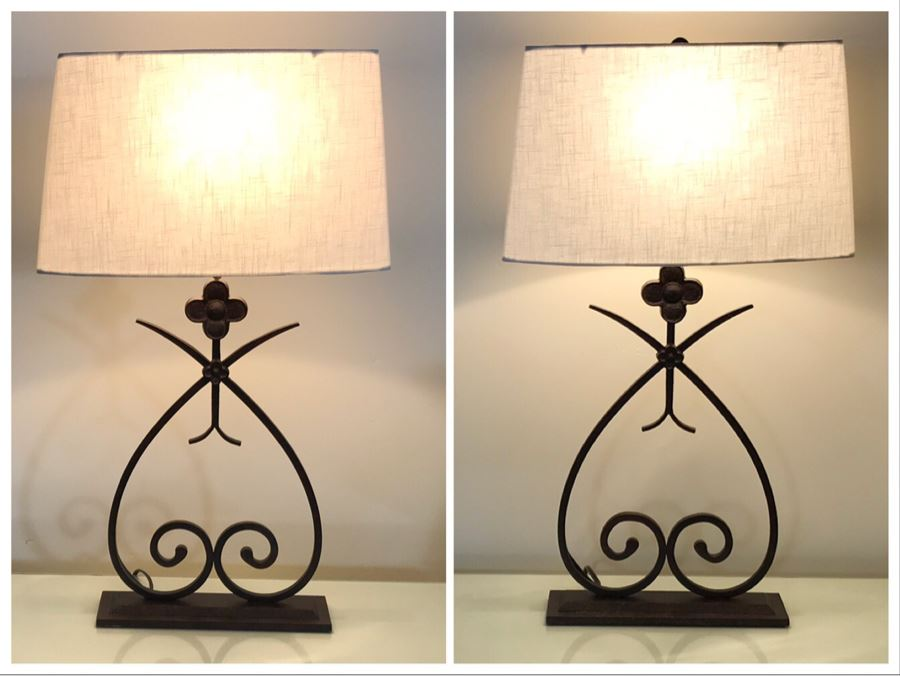 Pair Of Metal Table Lamps (Retails $800) [Photo 1]