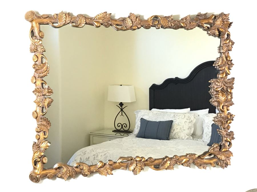 Gold Tone Tree Branch Motif Wall Mirror From Howard Elliot Collection 41W X 32H [Photo 1]