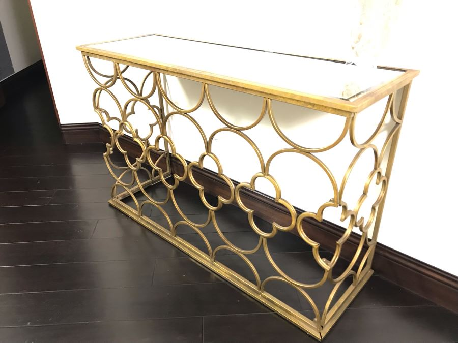 Gold Tone Metal Console Table With Mirrored Top - Collapsible 49W X 16.5D X 30.5H [Photo 1]